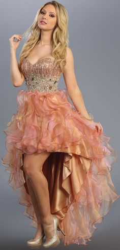 Peach-Gold Strapless beading Embroidery Organza Ruffled Side Splitting High Low Prom Dress XS-3XL