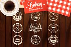 Check out Set of vintage bakery badges by DaryaGribovskaya on Creative Market