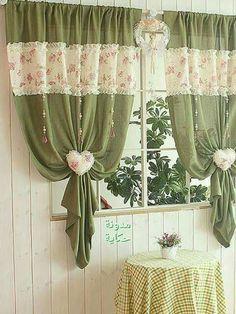 Green Curtains, Green Kitchen Curtains, Window Dressings, Curtain Ideas,  Ideas Para, Interior Design, Image Search, Album, Room Kitchen