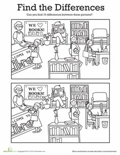 Encuentra las diferencias en la biblioteca                                                                                                                                                     Más