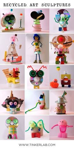 Recycled Art Sculptures with Found Objects Mystery Box Challenge Great for Earth Day Recycled Art Projects, Recycled Crafts, Projects For Kids, Crafts For Kids, Craft Projects, Recycled Clothing, Recycled Fashion, Crafts With Recycled Materials, Recycled Furniture