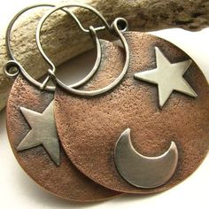 Large Silver And Copper Hoop Earrings - Moon And Star Earrings - Pagan Goddess Mixed Metal Artisan Jewelry