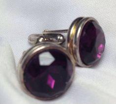 Deep Purple Cut Glass & Silver Tone Vintage Cufflinks Mens Cuff Links