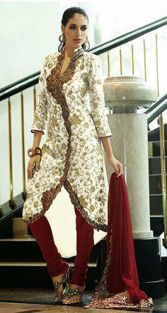 USD 150.36 White Silk Resham Work Designer Anarkali Salwar Kameez 27470