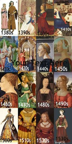 Timeline of fashion- not sure whether to pin it to my medieval or renaissance board because this has both. I guess I'll do medieval because it has more medieval decades. Mode Renaissance, Costume Renaissance, Medieval Costume, Renaissance Fashion, Medieval Dress, Medieval Clothing, Historical Costume, Historical Clothing, Vintage Outfits