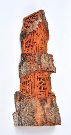 Bark Carving Whimsical Houses | ... Wood Bark Wood Carving - OOAK, Birthday Gift, Wood Carvings, Cabin Art