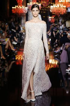 elie saab couture fall 2014 gorgeous off the shoulder long sleeve embellished dress