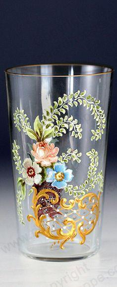 ANTIQUE GLASS. c.1900 FLORAL & GILT ENAMELLED JUICE WATER GLASS TUMBLER PROBABLY FRITZ HECKERT.
