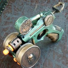 Steampunk gun NERF  Victorian scifi pistol APOCALYPTIC cyber soft darts ZOMBIE killer. $49.99, via Etsy.