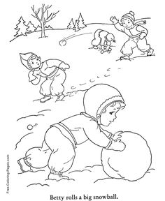 Winter coloring pictures - Snow Day Fun 24