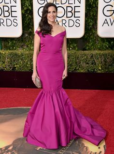 Worst: Michaela Watkins in Christian Siriano at the 73rd Annual Golden Globe Awards. The star of Hulu's Casual — if you don't watch it, consider binging ASAP! — Michaela Watkins wore a bright gown with a trumpet flare bottom.