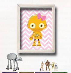 Star Wars Kids Wall Art -C-3PO- Star Wars Characters - Star Wars Girl Room - Star Wars Nursery - Make your own set - Jedi Baby - Prints on Etsy, $11.00