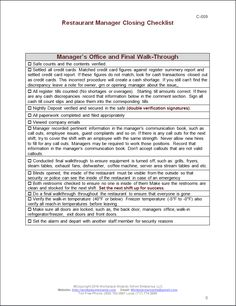 Closing Manager Checklist Restaurant Consulting