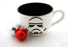 'not that I love storm troopers, hello bad guys, but I do live me some star wars!!!'  Star Wars Inspired Storm Trooper Soup Mug, Etsy.com, $18.00