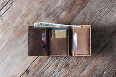 Men's Leather Trifold Wallet Made with Distressed by JooJoobs
