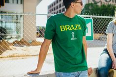 Get your Brazil gear for the 2018 FIFA World Cup today at WorldSoccerShop.com! #graphictee
