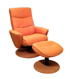 ORANGEADE FABRIC RECLINER W/ UPHOLSTERED BASE