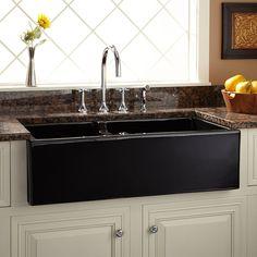 "36"" Aulani Italian Fireclay Farmhouse Sink with Drainboard - Black - Kitchen"