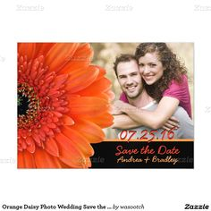 Orange Daisy Photo Wedding Save the Date Magnet Magnetic Invitations