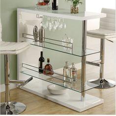 white mini bar, perfect for entertaining