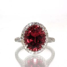 GIA Certified 18k White gold Natural Oval Pink Tourmaline & VS Diamond HALO ring #HALO #Engagement