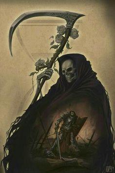 Grim Reaper Art, Don't Fear The Reaper, Reaper Tattoo, Demon Tattoo, Samurai Tattoo, Skull Pictures, Dark Pictures, Reaper Drawing, Evvi Art
