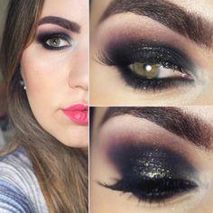 Tutorial – olho preto esfumado com glitter e roxo