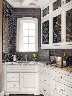 Traditional kitchen, modern backsplash. subway tiles.