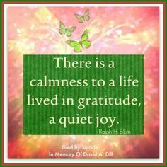 There is a calmness to a life lived in gratitude a quiet joy.