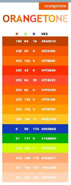Orange tone web colors