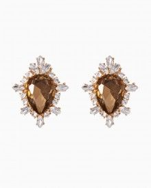 """One dazzling """"shell"""" of a gem rests between decorative rhinestone borders on this pair of super glamorous earrings. Free shipping over $50. Featuring lustrous smoky topaz from RSVP, the special occasion collection."""