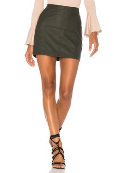 Free People Modern Femme Vegan Mini Skirt in Green   REVOLVE