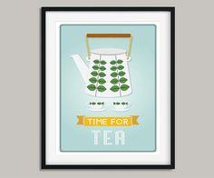 Mid Century Modern Kitchen Print Mid Century Tea Print Modern Prints, Large Prints, Mid-century Modern, Kitchen Prints, Kitchen Wall Art, Mid Century Modern Kitchen, Mid Century Art, Wall Art Prints, Poster