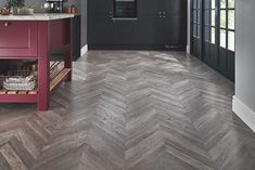 Howdens Kitchens have identified six key kitchen trends for Find out how to achieve the effortlessly glamorous 'Refined' trend here. Kitchen Flooring, Howdens Kitchens, Grey Kitchens, Herringbone Wooden Floors, Chevron Kitchen, Chevron Floor, Wood Effect Tiles, Kitchen Trends