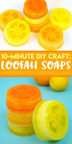 Citrus Loofah Soaps - Make a batch of exfoliating DIY Citrus Loofah Soap in just 10 minutes, and wake up your mornings with the refreshing and invigorating scent of citrus! These homemade luffa soaps make a great DIY homemade gift idea via @hiHomemadeBlog