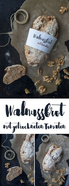 Walnussbrot mit getrockneten Tomaten backen – einfaches Rezept – mit Freebie Bro… Baking Walnut Bread with Dried Tomatoes – Easy Recipe – with Freebie Bread Wrapper Brunch Recipes, Bread Recipes, Baking Recipes, Easy Recipes, Pizza Recipes, Recipes Dinner, Law Carb, Good Food, Yummy Food