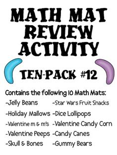 A set of 10 assorted math mat review activity sets.  I use these for spiral math review every Friday!