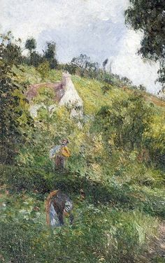 """Camille Pissarro (1830-1903) ~ """"Auvers-Sur-Oise, La Côte Saint-Nicolas"""", 1878 (Détail) ~ Huile sur Toile Originale 65 x 41 cm"""