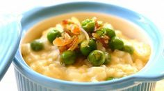 Traditional Italian risotto with sweet peas and cheese recipe