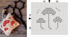 trio of mushrooms small free cross stitch pattern