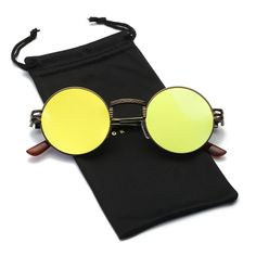 a471f782bf3 Dumok Round Metal Steampunk Vintage Circle Sunglasses DSR007 With Brown  Frame Green Lens    Check out this great product.-It is an affiliate link  to Amazon.