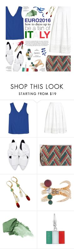 """""""Dress up for Italy"""" by federica-m ❤ liked on Polyvore featuring MANGO, Superdry, Gucci, Eshvi, Urban Decay, Whimsical Watches, Italy and euro2016"""