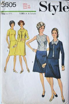 Style sewing patterns 3605 dress and jacket  70s design by Tigrisa