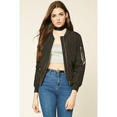 Forever21 Ribbon Panel Bomber Jacket (2,195 INR) ❤ liked on Polyvore featuring outerwear, jackets, bomber jacket, drape jacket, long sleeve jacket, zip front jacket and bomber style jacket