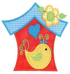 Bird Birdhouse Applique Design