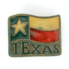 Texas Flag Brass Belt Buckle by CarolsThreads on Etsy
