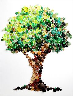 Button Tree -- Spectacular Rainbow Button Art by Karen Hurley - My Modern Metropolis Crafts To Do, Crafts For Kids, Arts And Crafts, Button Picture, Diy Buttons, Button Crafts, Button Art Projects, Diy Art, Artsy
