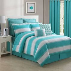 Turquoise Bedding be equipped palm tree bedding be equipped beautiful bedding sets be equipped luxury bedding sale Turquoise Bedding, Turquoise Teen Bedroom, Full Comforter Sets, Twin Comforter, Striped Bedding, Teal Bedding Sets, Teen Girl Bedrooms, Aqua Bedrooms, Cool Beds