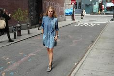 Eef Vicca in SoHo wearing the Marc by Marc Jacobs SS14 Catalina Chambray Shirtdress!