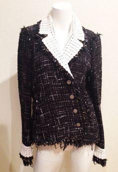 Authentic Chanel Tweed Crochet Trim Classic Jacket Black & White 04S FR40
